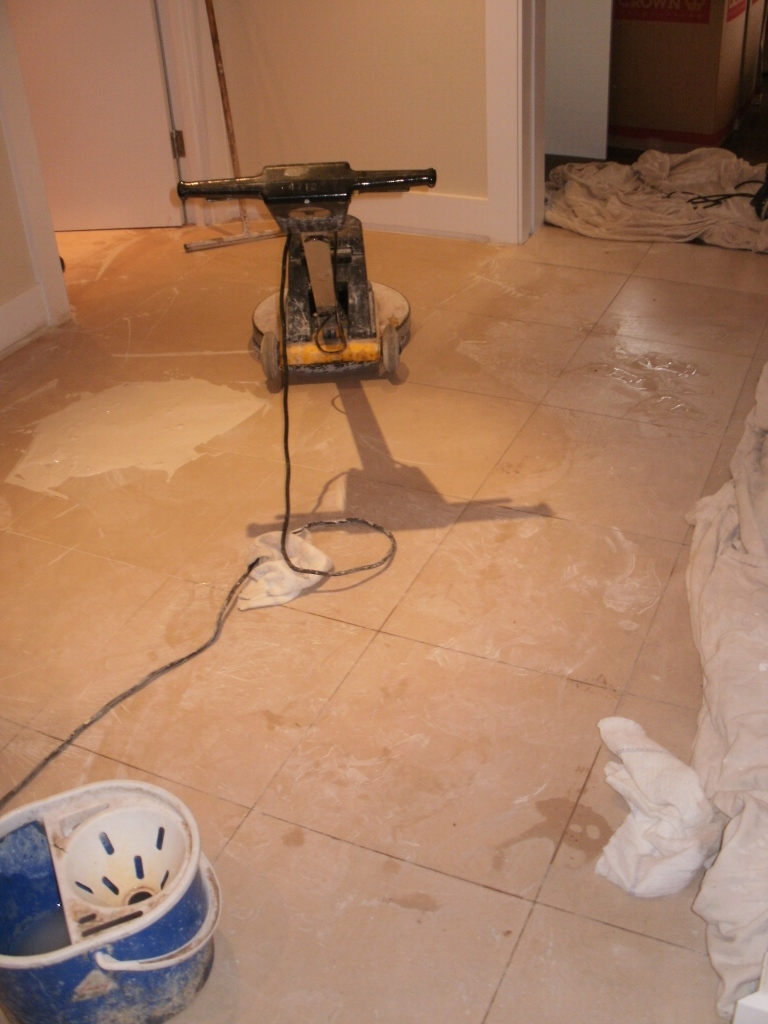 Limestone Tile Cleaning During