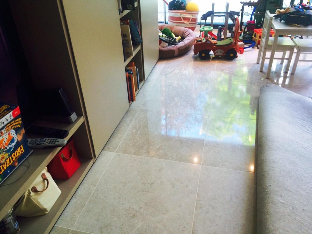 Limestone Floor London NW8 After Burnishing