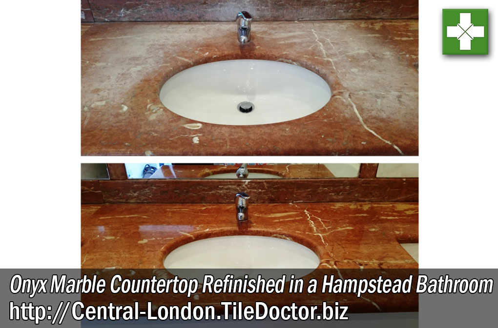 Onyx Marble Countertop Before and After Restoration in Hampstead