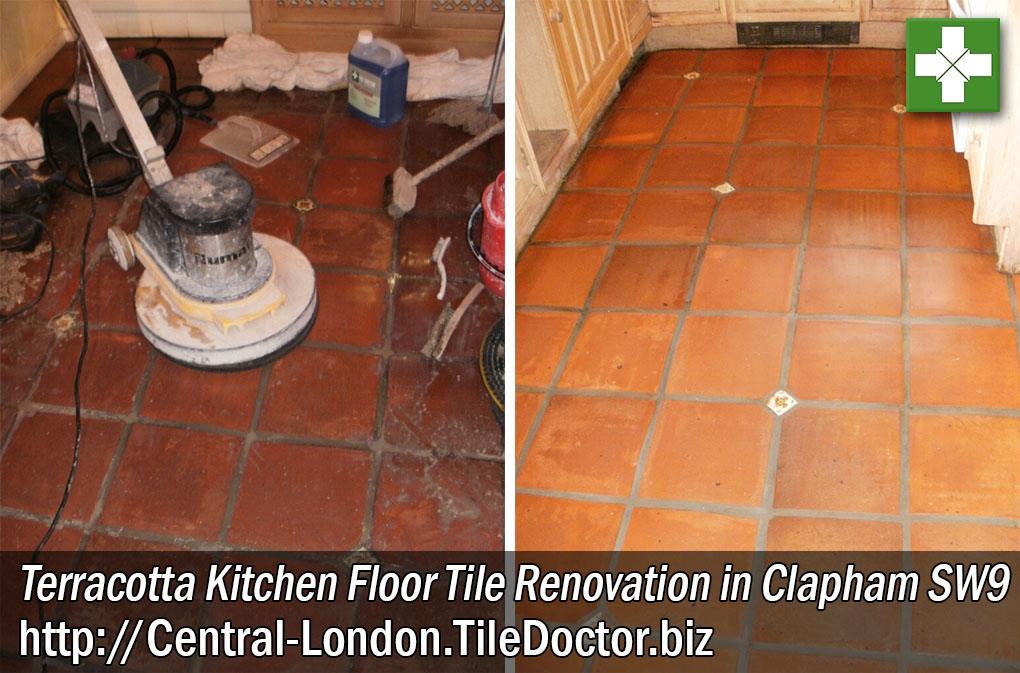 Terracotta Kitchen Floor Tile Renovation in Clapham SW9