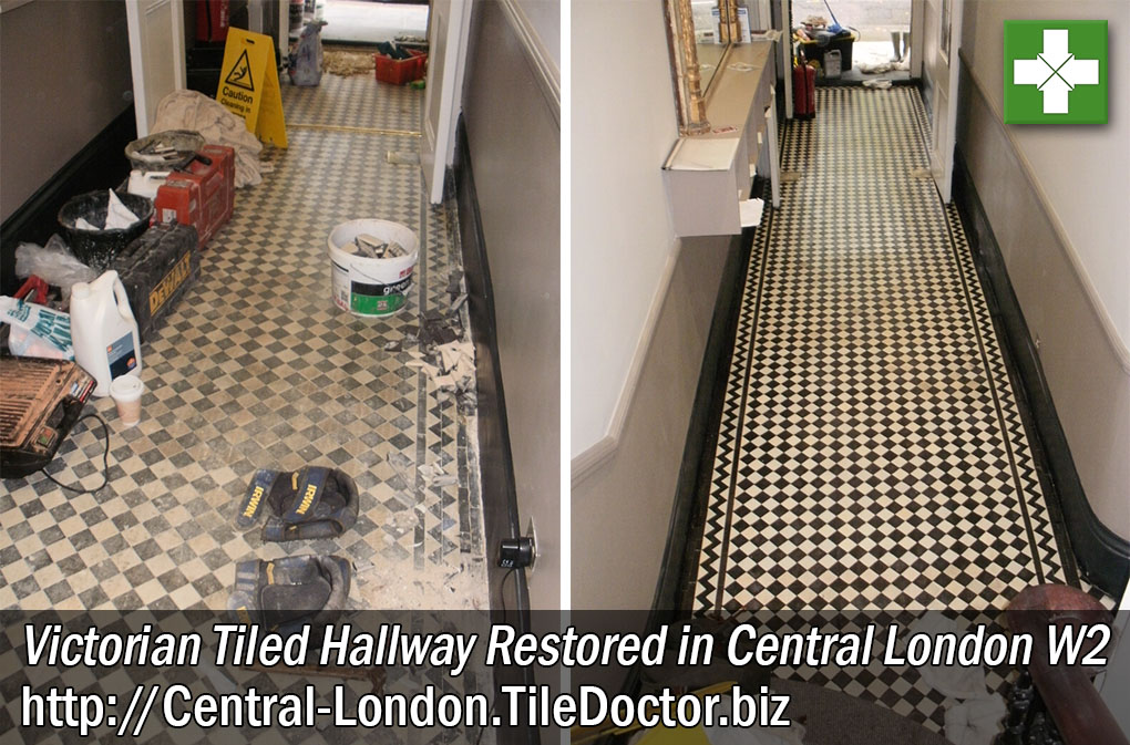 Victorian Tiled Hallway Before and After Restoration in Central London W2