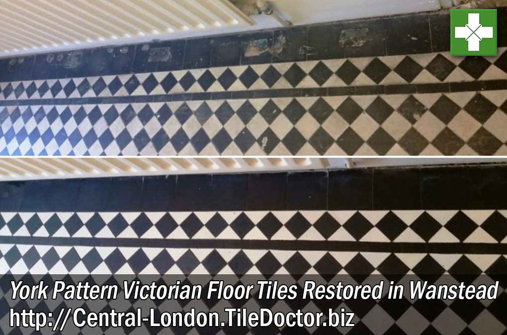 York Pattern Victorian Floor Tiles Before and After Restoration in Wanstead