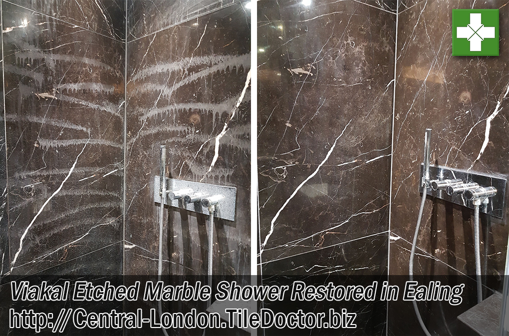 Marble Tiled Shower Before and After Renovation Ealing