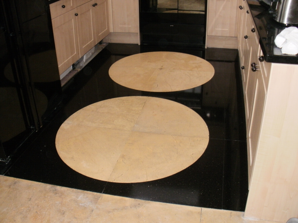 Granite and Limestone Kitchen floor after