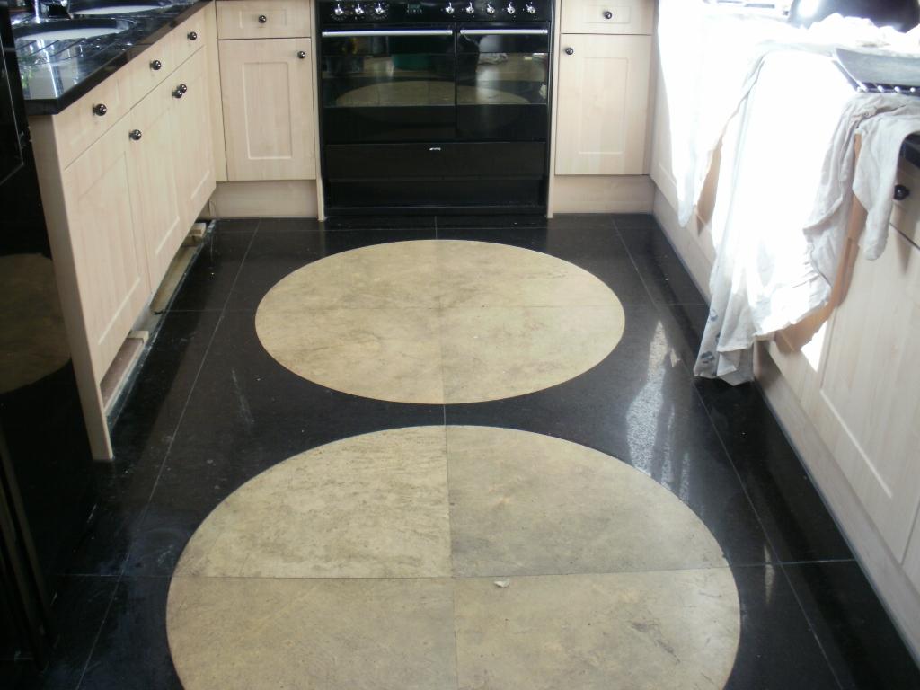 Granite and Limestone Kitchen floor before