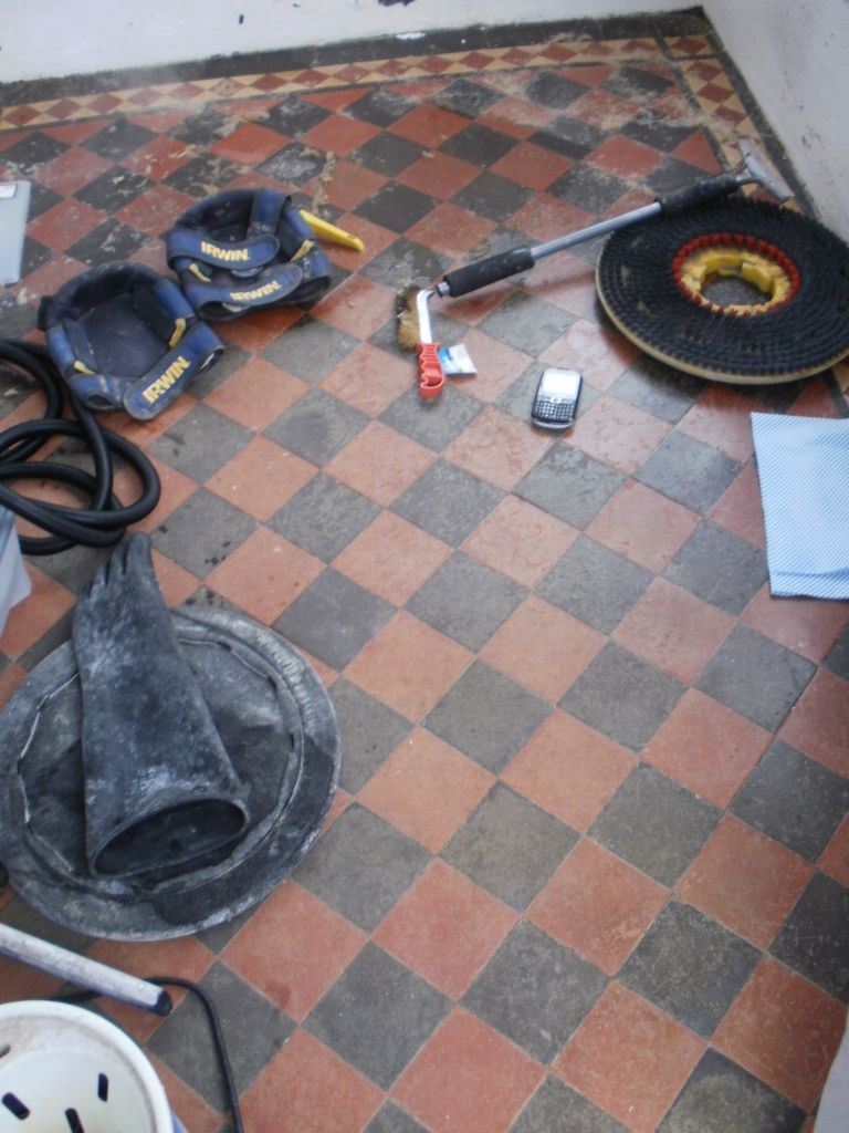 Edwardian Quarry Tiled Porch Before Cleaning