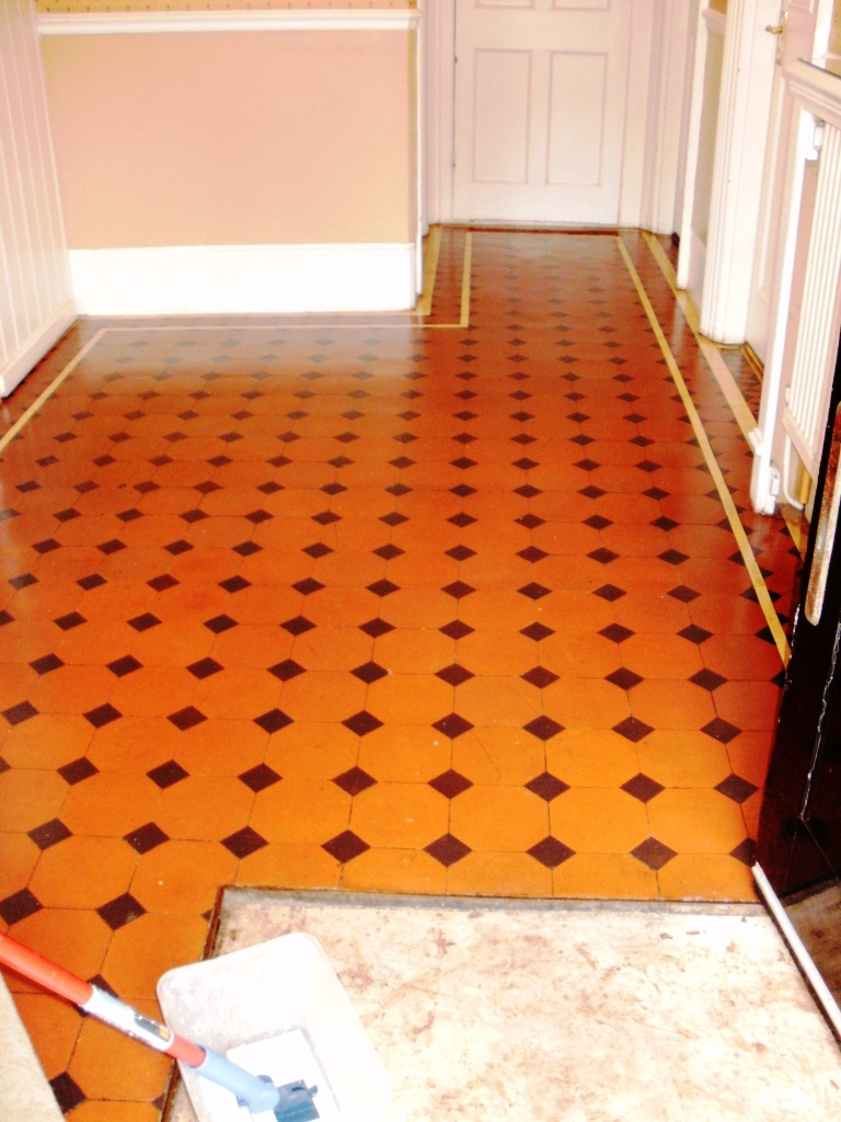 Quarry-Tiled Hallway after cleaning and sealing