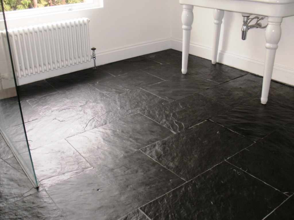 Semi Riven Slate Floor After