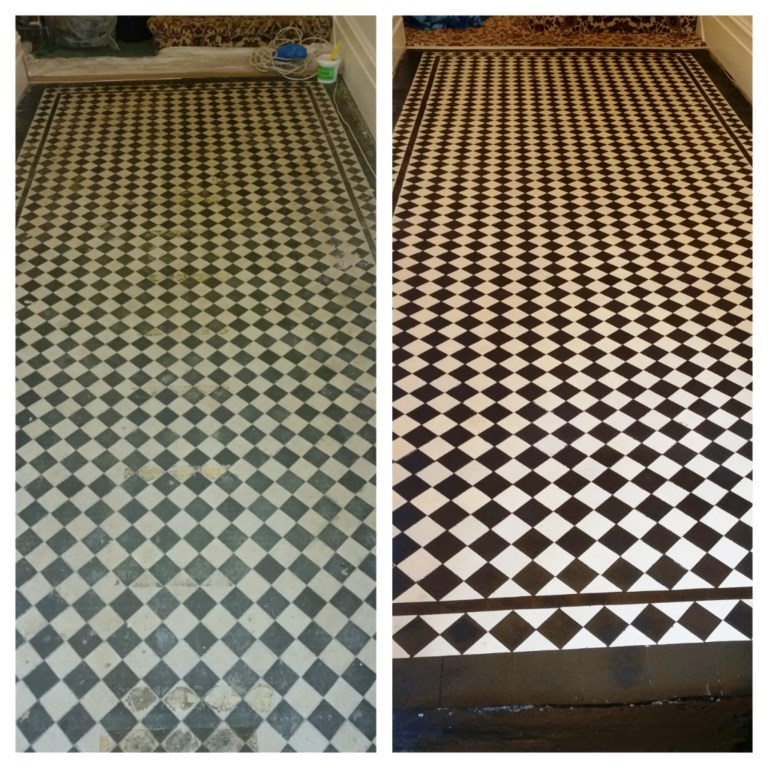 York Patten Victorian Floor Tiles Before and After Cleaning Wanstead