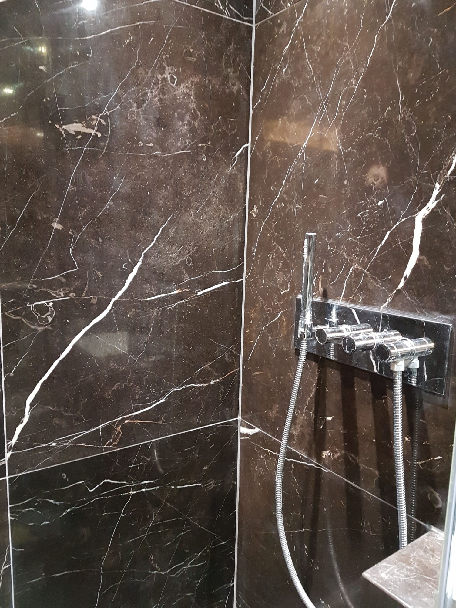 Damaged Marble Shower Wall After Restoration Ealing