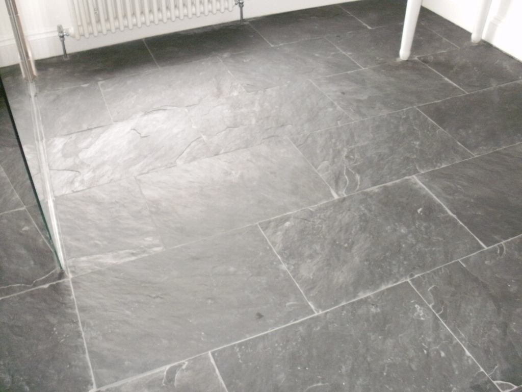 Slate tiled wet room floor in ealing central london tile doctor semi riven slate floor before dailygadgetfo Images