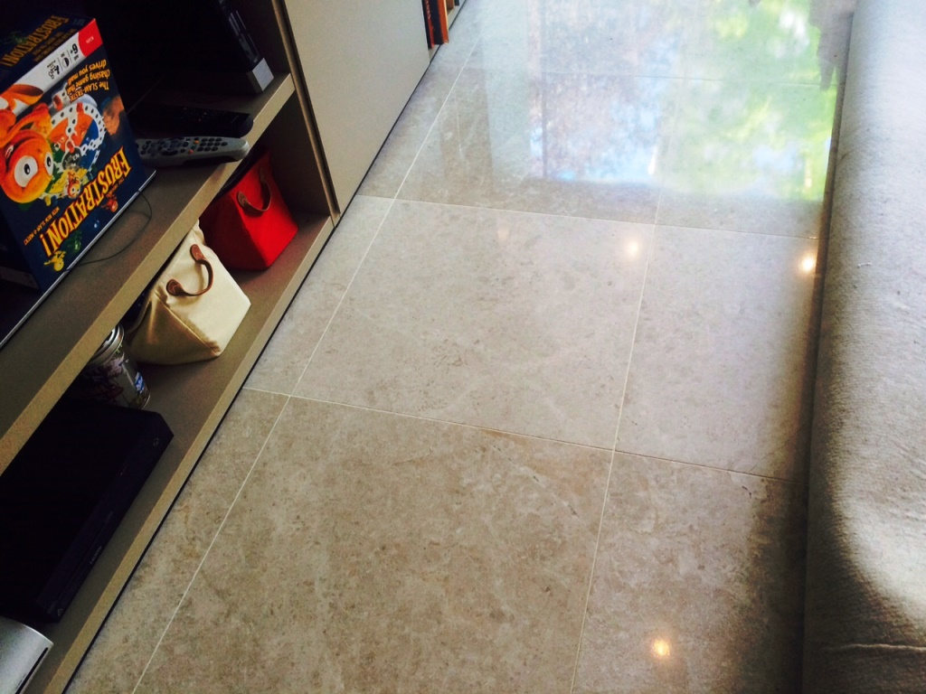 Limestone Floor London NW8 After Burnishing