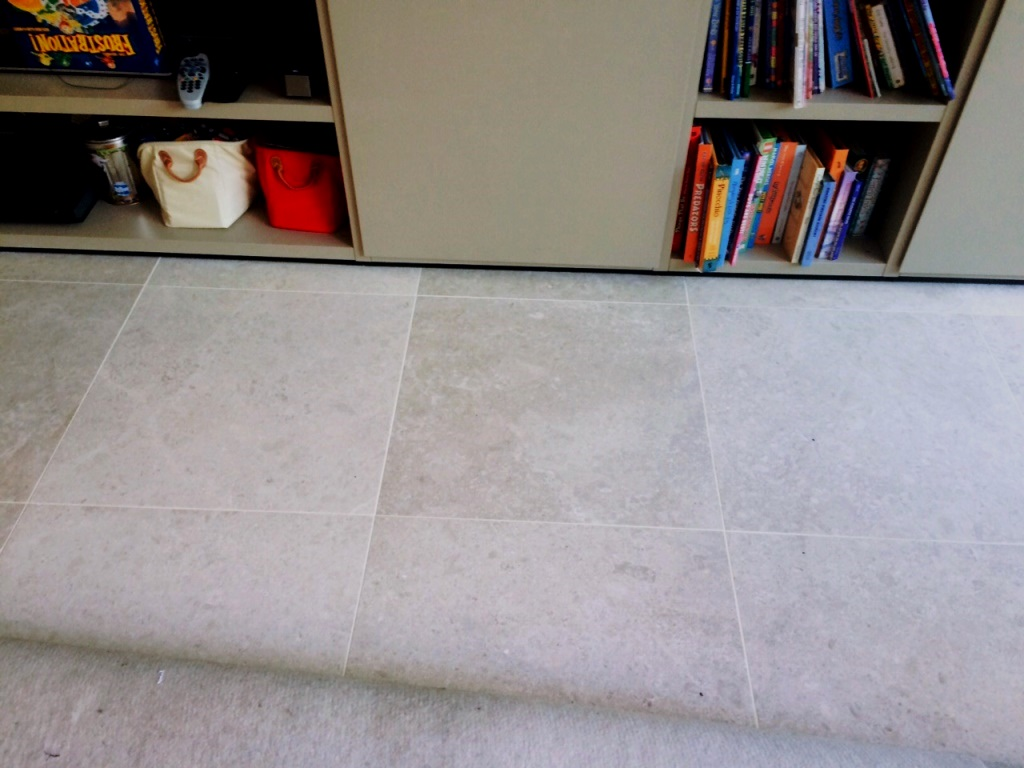 Limestone Floor London NW8 After Cleaning Grout Lines with Oxy Pro