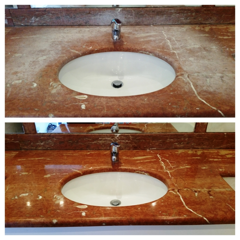Marble Onyx Countertop London Before and After Cleaning