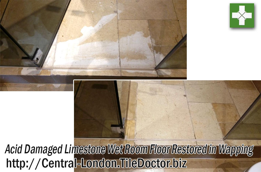 Limestone Wet Room Floor Before and After Restoration Wapping