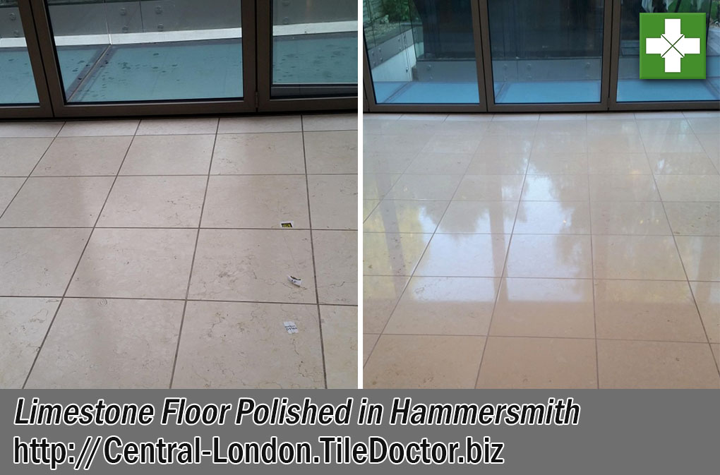 Large Limestone Floor Before After Polishing Hammersmith