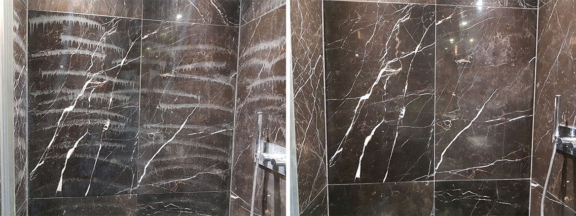 Damaged Marble Shower Wall before and after Restoration Ealing