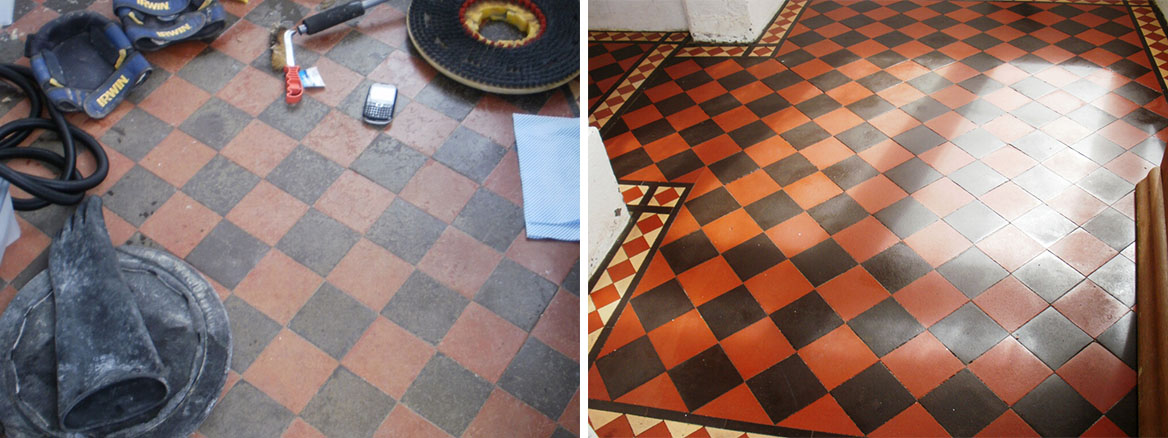 Edwardian Quarry tiled porch before and after cleaning and sealing