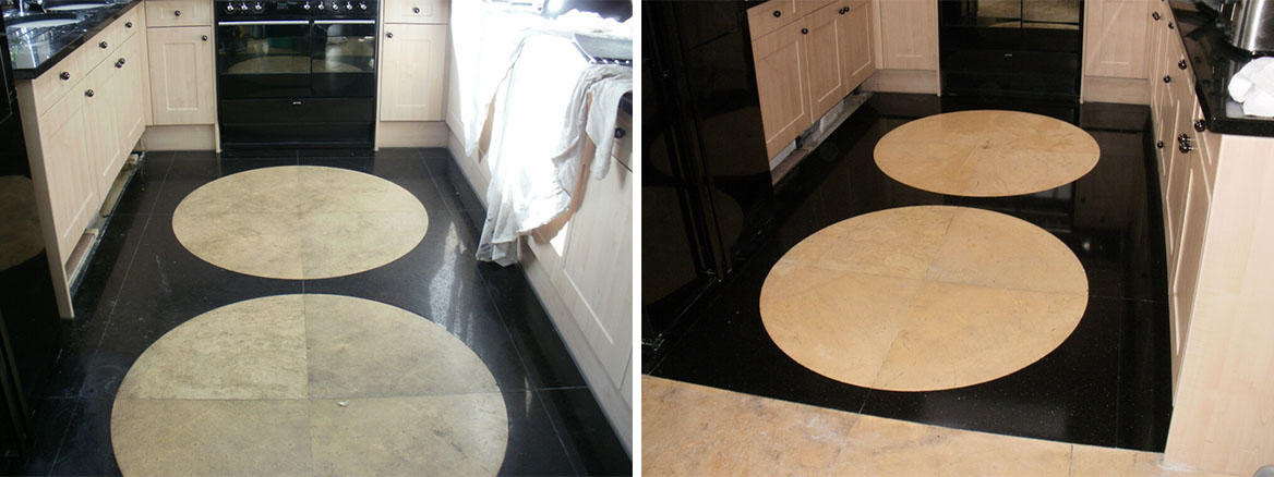 Polishing a Granite & Limestone floor tile in Westminster