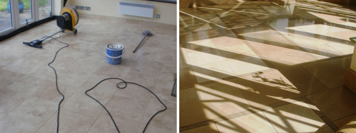 Polishing hard Magnesium Limestone floor tiles in London SW18