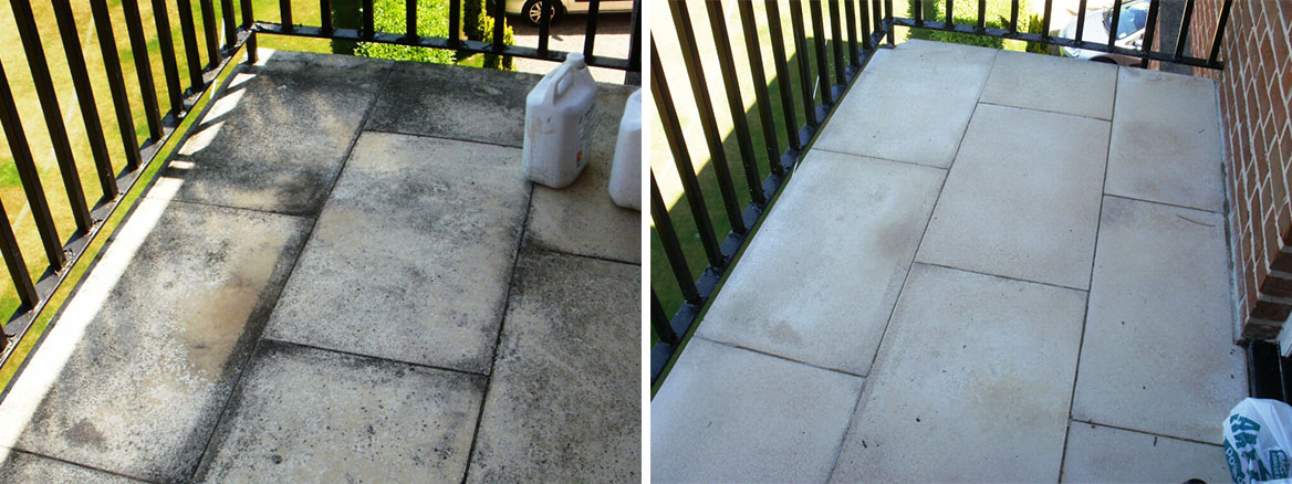Limestone Balcony NW8 before and after Cleaning