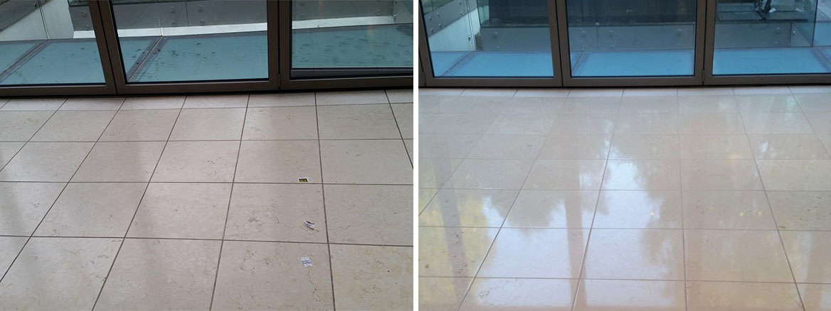Limestone Floor before and after Polishing in Hammersmith