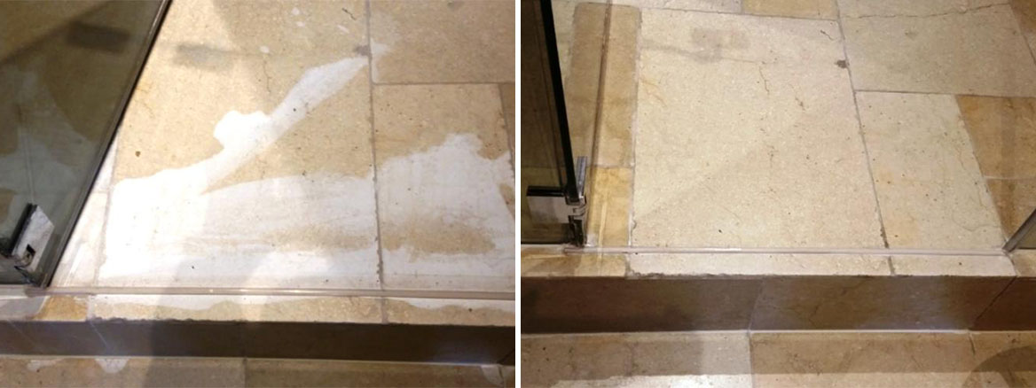 Limestone Floor Damaged by Acid before and after Restoration Wapping