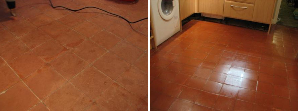 Quarry Tile Kitchen Floor before and after
