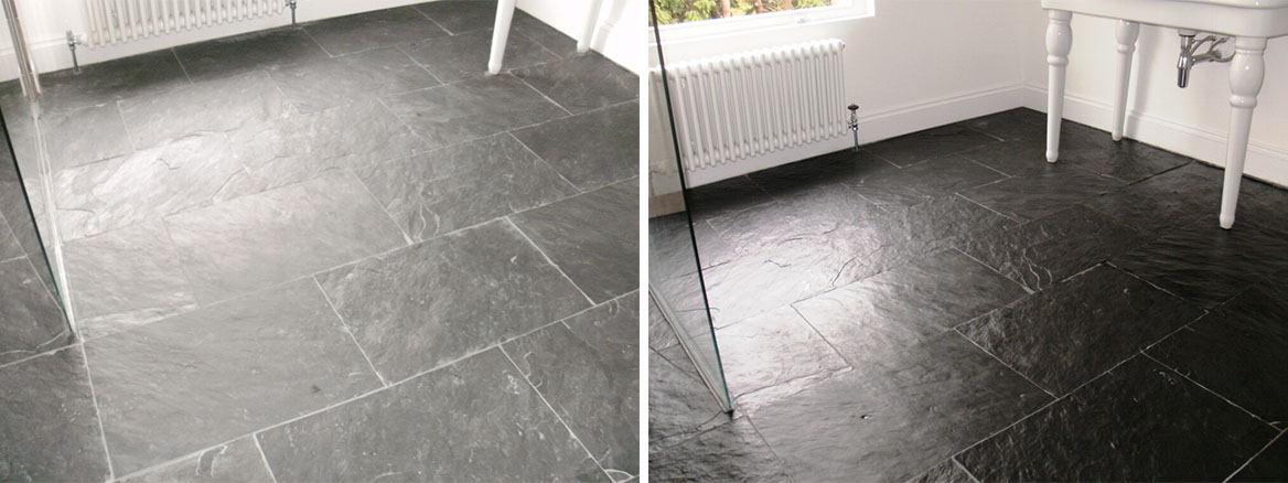 Slate Tiled Wet Room floor in Ealing