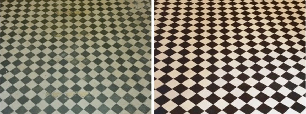 York Pattern Victorian Tiled Hallway Restored in Wanstead, E11