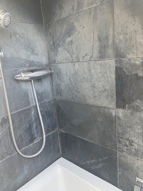 Slate Shower Before Refurb Maida Vale London